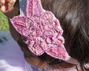 REDUCED Pink Sequin Beaded headband, Women Beaded headband, Baby Girl Headband, Girl Beaded Headband, Infant.Girl Headband