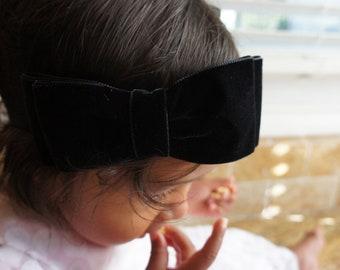 Large Velvet Fabric Black Color Hair Bow Headband, Baby Girl Hair Bow Headband, Women Hair Bow, Girls Hair Bow