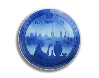 """Royal Copenhagen """" 200 Års Jubilæum """" 1775 - 1975 Bicentenary porcelain plate vintage collectors collectible Danish 1975"""