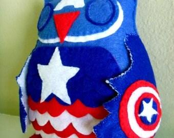 Avengers Captain America Inspired Owl Plush