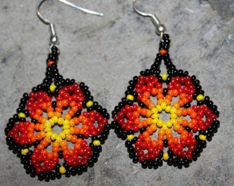Huichol Peyote Beaded Earrings U-1