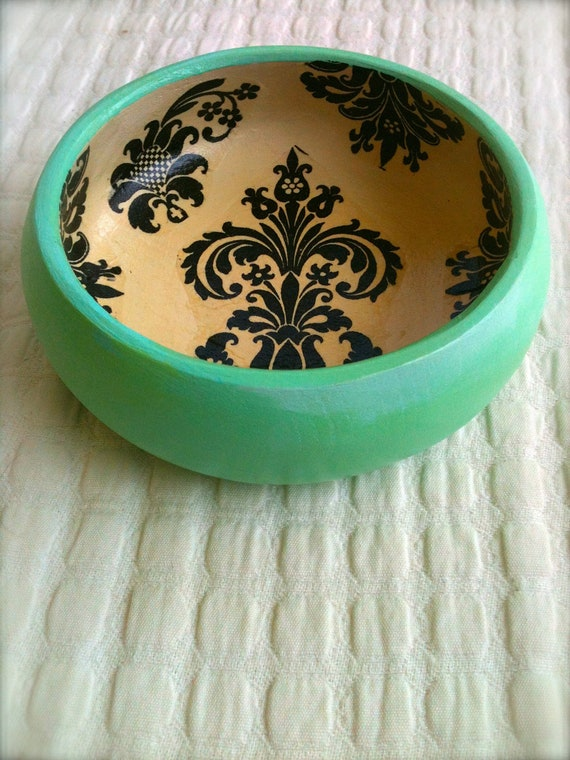Beautiful Wooden Bowl in Green with Black Design
