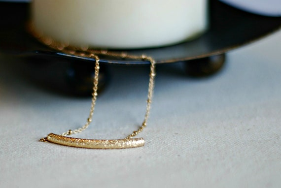 sanskrit...14k gold filled floral vine tube on satellite curb chain necklace OOAK