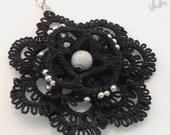"Tatting black pendant, tatting gothic  lace pendant - ""Mysterious Black Flower""- tatted flower pendant"