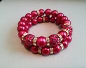 Red Pave Crystal Bracelet Set