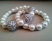White and Silver Pave Crystal Bracelet 2 Pc Set