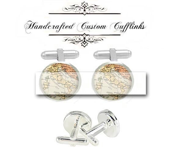 custom vintage italy map men Cufflinks birth locations wedding engagement Anniversary birthday son husband father fiancée gift cuff link