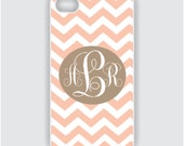 iPhone 4 Case - Peach and Coco Brown Chevron Monogram - iPhone Case, iPhone 4s Case, Cases for iPhone 4, iPhone 4 Cover