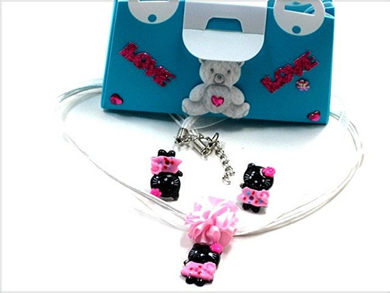 HELLO KITTY Jewelry SET Girls White Necklace Earrings Gift Purse White/Pink Hello Kitty Charm Necklace whie/pink Ribbon Charm Necklace