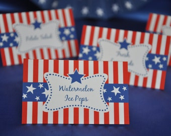 4th of July Patriotic Party Text Editable buffet table cards / treat bag toppers / guest place cards INSTANT DOWNLOAD