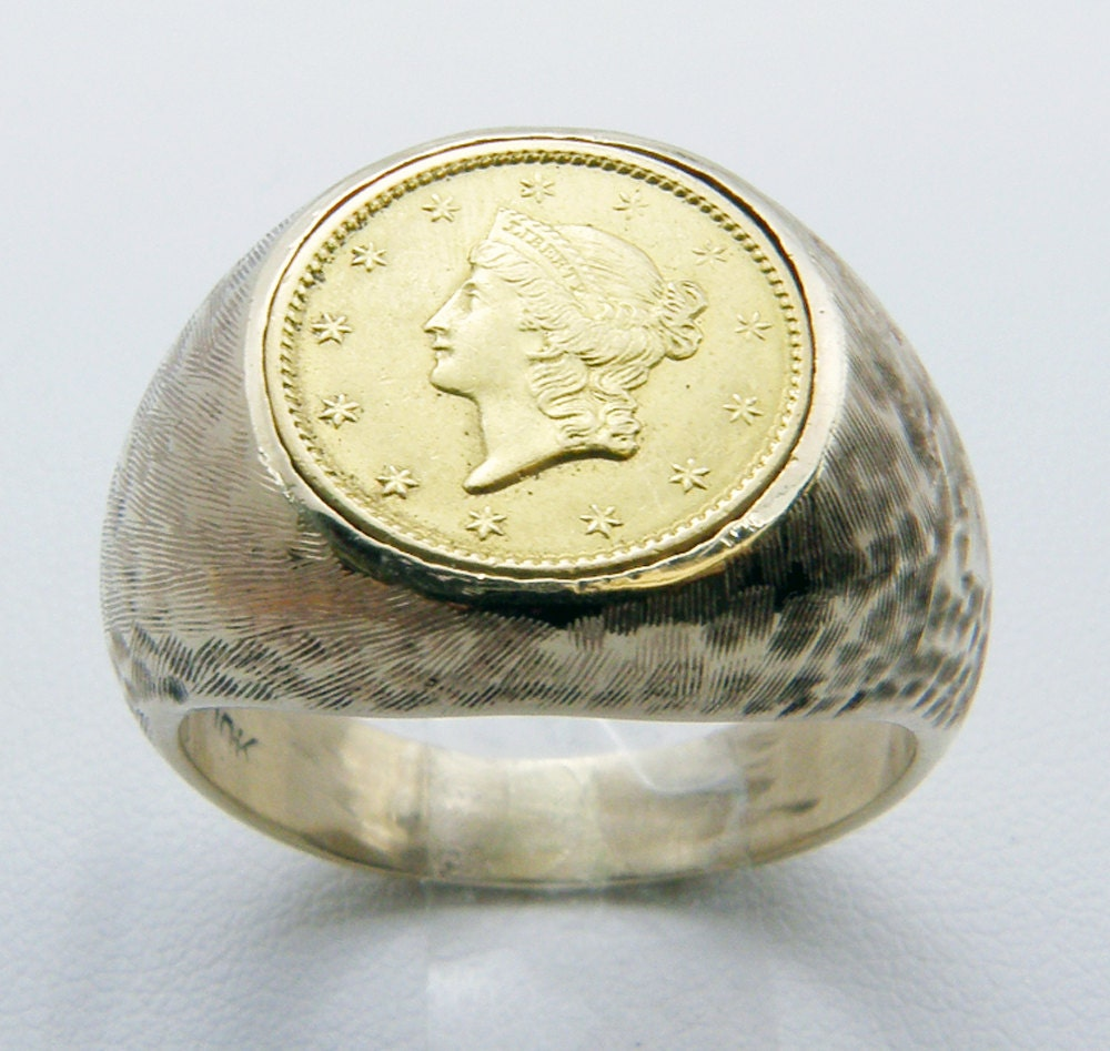 us 1849 one dollar liberty gold coin ring set in 10k gold