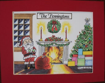 Personalized Matted Christmas Cartoon Picture