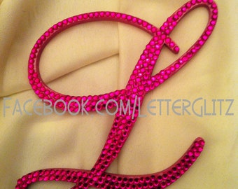 Pink/Fuschia Bling Monogram Cake Topper