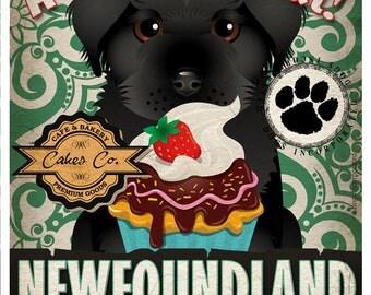 Newfoundland Cupcake Company Original Art Print - Custom Dog Breed Print -11x14- Customize with Your Dog's Name - Dogs Incorporated