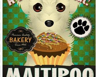 Maltipoo Cupcake Company Original Art Print - Custom Dog Breed Print -11x14- Customize with Your Dog's Name - Dogs Incorporated