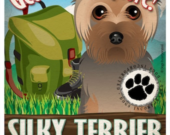 Silky Terrier Wilderness Dogs Original Art Print - Personalized Dog Breed Art -11x14- Customize with Your Dog's Name - Dogs Incorporated