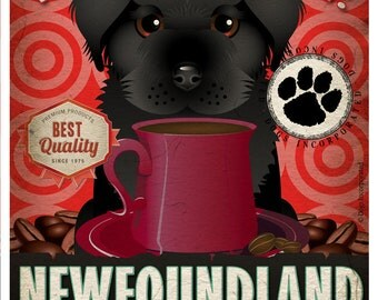 Newfoundland Coffee Bean Company Original Art Print - 11x14- Personalize with Your Dog's Name