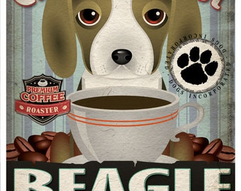 Beagle Coffee Bean Company Original Art Print - 11x14 - Personalize with Your Dog's Name