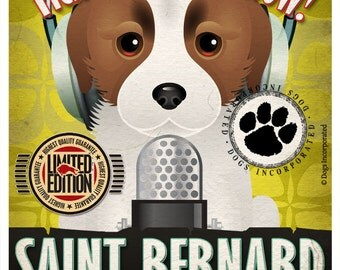 Saint Bernard Recording Studio Original Art Print - Custom Dog Breed Print 11x14