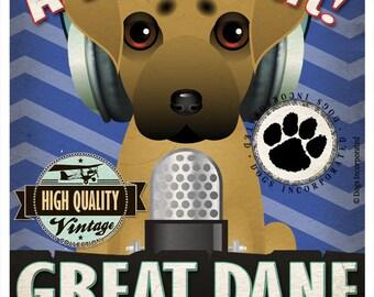 Great Dane Recording Studio Original Art Print - Custom Dog Breed Print - 11x14