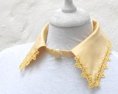Yellow  collar necklace, french  silk dupion with tatted lace