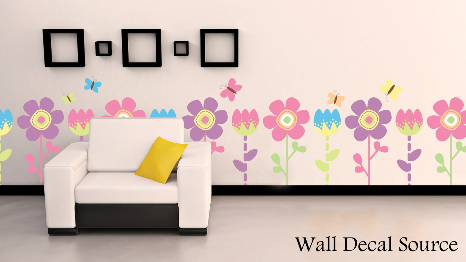 Childrens Flower Wall Decal Floral Vinyl Decor by WallDecalSource