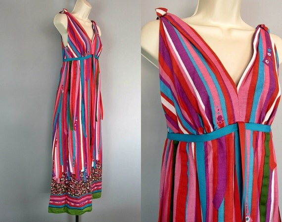 Vintage 70s Floral Maxi Dress Ribbons Candy Cane Stripe Boho Festival Hippie Dress