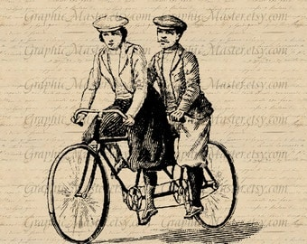 French Tandem JPG PNG Vintage Double Bicycle Instant Download Digital Collage Sheet Image Printable Graphics Iron On Transfer Burlap A165