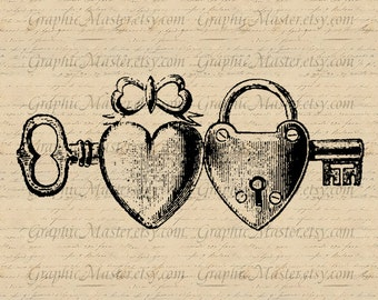 Valentine Love Key Hearts Lock Digital Collage Sheet Image Download Iron On Transfer Fabric Pillows Tea Towels Tote Bags Gift Tags a183