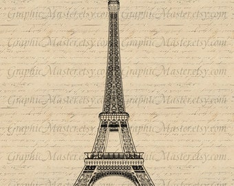 Eiffel Tower Paris PNG JPEG French Graphics Digital Image Instant Download Iron on Transfer To Pillows Fabric Bags Tea Towels Burlap a 305