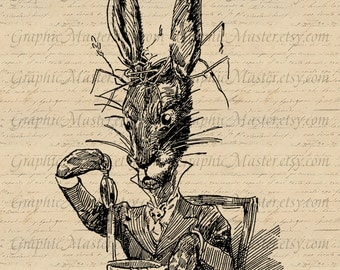 White Rabbit at Tea Party Digital Image Download for Fabric Clothing Cloth Pillows Tote Bags Tea Towels Burlap a312