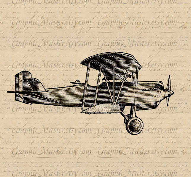 Vintage Biplane Airplane Graphics Digital Download Collage
