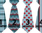 Monthly Onesie Sticker Ties//Neck Tie//blue patterned// Baby Boy Photo Prop//baby gift,