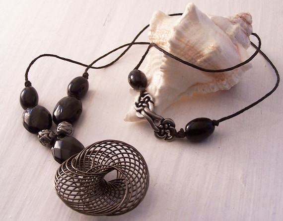 Ethical Black Glass Bead Necklace, Ethical Handmade Necklace, Ethical Necklace