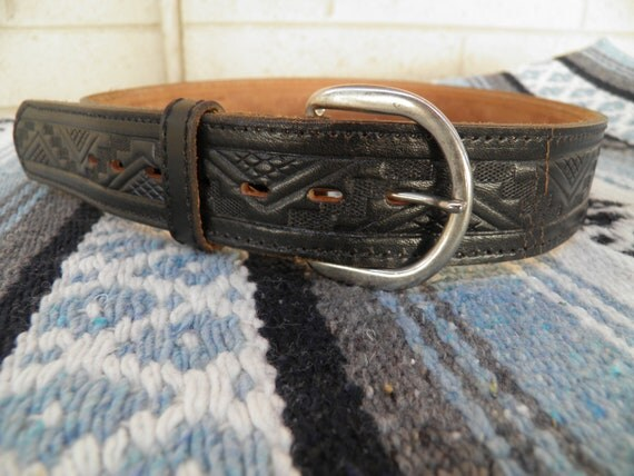 RESERVED for Danielle---Vintage Black Leather Southwest Belt Made in Mexico Waist 32-36""