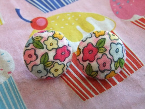 Floral earrings tiny flowers multicolored colorful pink blue yellow orange white round fabric button Heidi Grace handmade for pierced ears