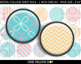 INSTANT DOWNLOAD - 1 Inch Circles Digital Collage Sheet - Pink and Blue Patterns - Bottle Caps Scrapbooking Pendant Magnets Tags - 016