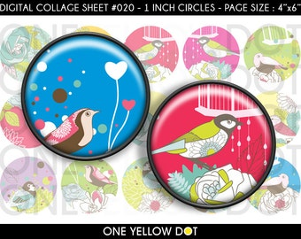 INSTANT DOWNLOAD - 1 Inch Circles Digital Collage Sheet - Vintage Flowers and Birds - Bottle Caps Scrapbooking Pendant Magnets Tags - 020