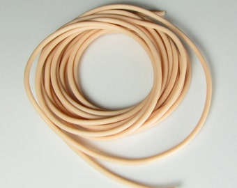 Rubber cord 3mm ivory/peach, solid, 10 feet