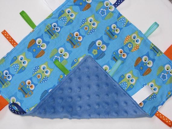 Owl Baby Boy Tag Blanket Lovey Tab Blanket Minky