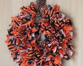 Halloween Rag Wreath handmade small with orange and black, pumpkin, and candy corn fabric-October Sale Free Shipping, coupon code: freeship