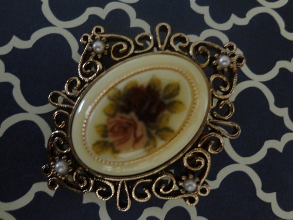 Vintage Rose Brooch with Faux Pearls Pin