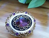 Beautiful Vintage Coro Faceted Amethyst Rhinestone Filigree Brooch