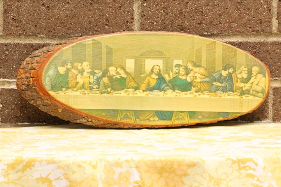 Large The Last Supper Jesus Christ Religious Catholic Wooden Vintage Wall Hanging Art Picture Decor