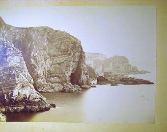Coast of Holyhead Mountain by Francis Bedford 1816-1894 Antique Photograph
