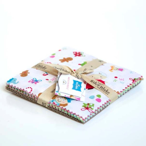 Santa's Workshop Stacker 5 Inch Squares-Riley Blake Fabric