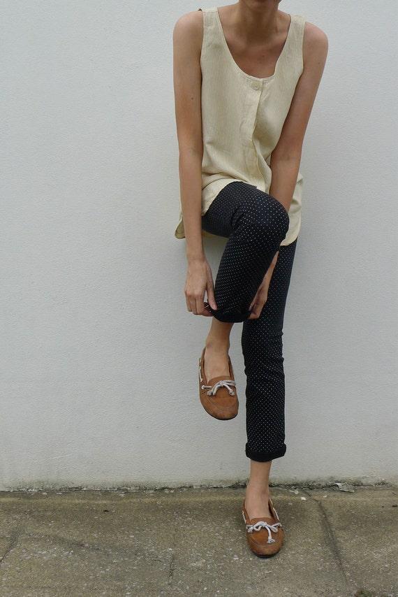 vintage oversize sleeveless blouse, top, long blouse, summer blouse, light brown stripe