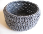 Grey Round Crochet Basket
