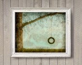 Tire Swing - Childhood Poster - photographic print - Turquoise Aqua Brown Tree Sweet Illustration Kids Wall Art Nostalgic Texture Quote