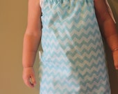 Blue and White Chevron with White Ruffle Pillowcase Dress size 24 months/2T- ready to ship